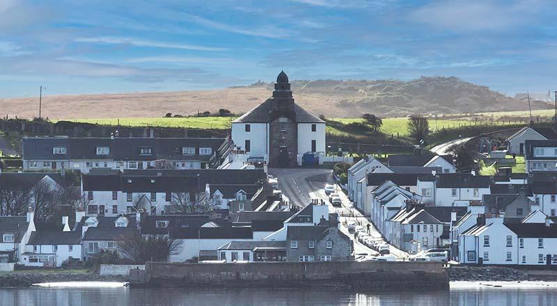 Bowmore Round Church across Loch Indaal